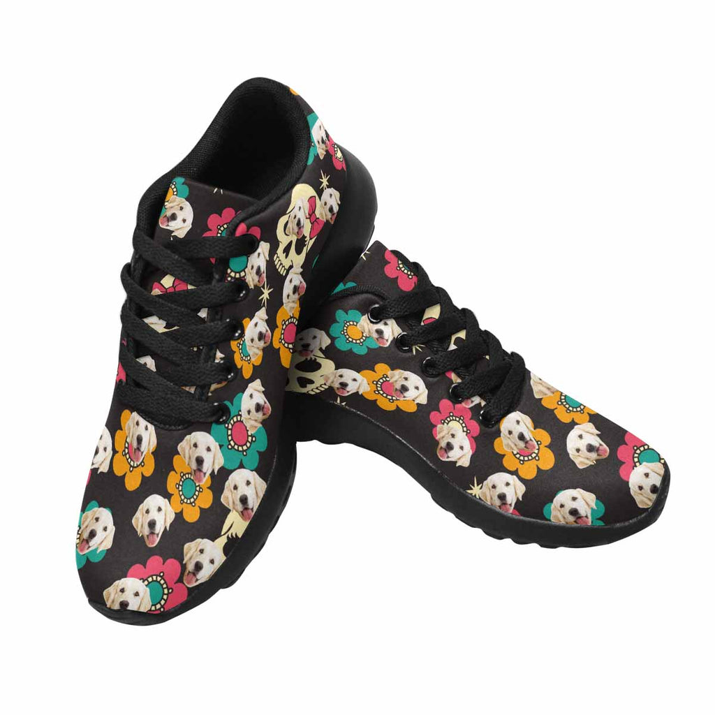 Personalized Picture Skull Women's Pup Sneakers Colorful Flowers