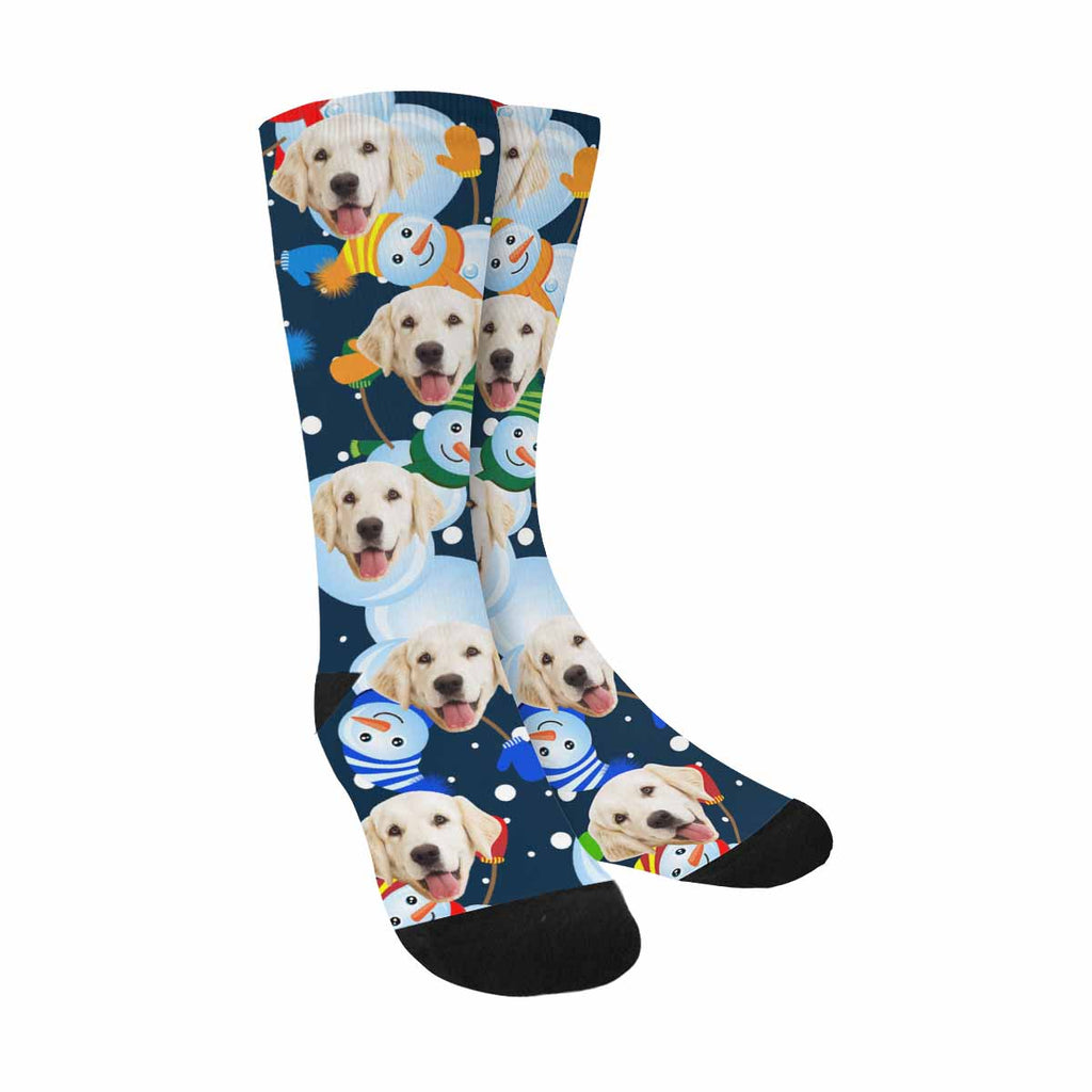Personalized Photo Snowman Dog Socks