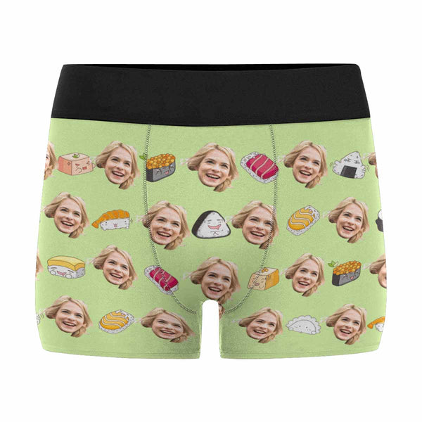 Personalized Face Sushi Men's Boxers and Underwear Green