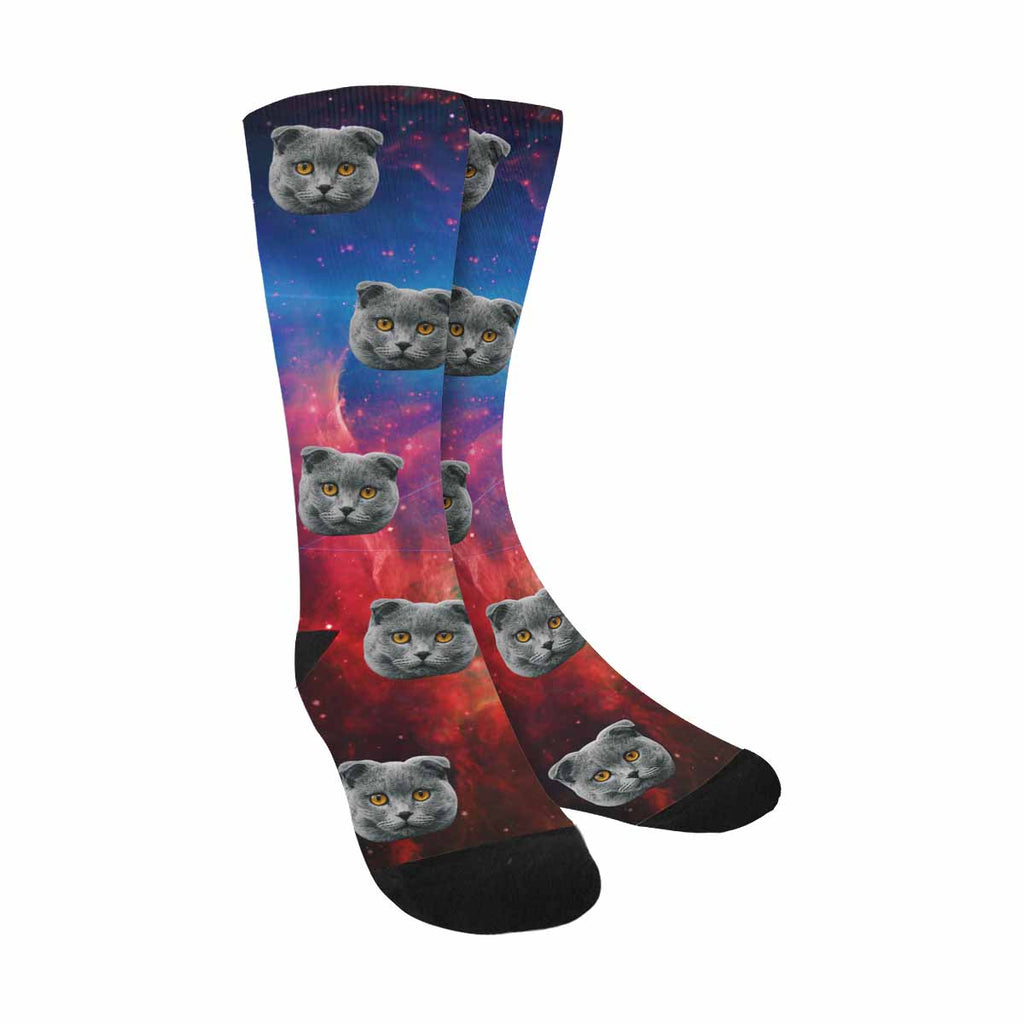 Personalized Picture Galactic Space Cat Face Socks