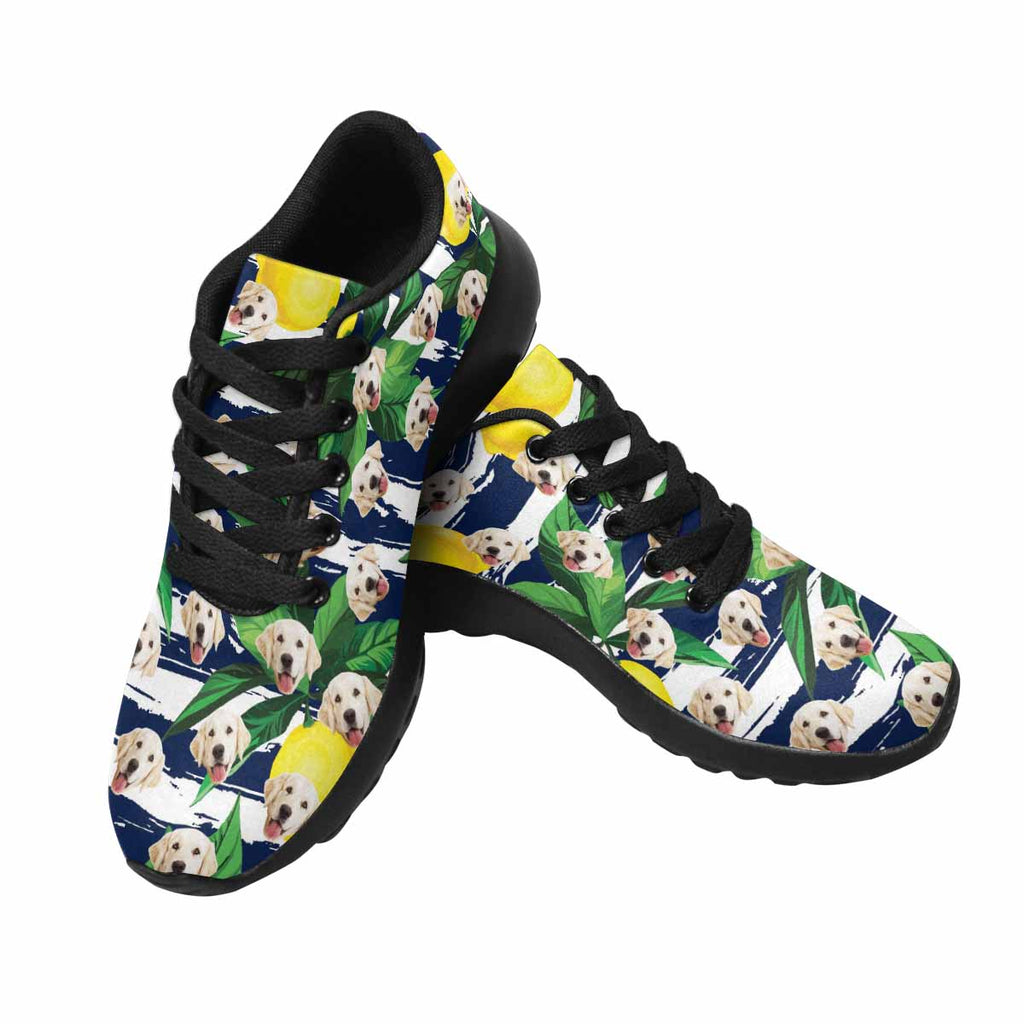 Personalized Printed Lemon Women's Pup Sneakers Stripes