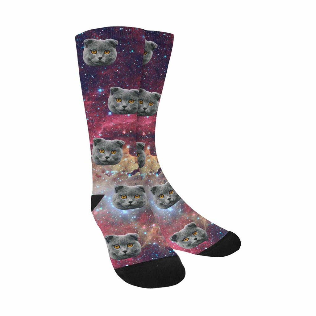 Custom Printed Stars and Galaxy Cat Socks