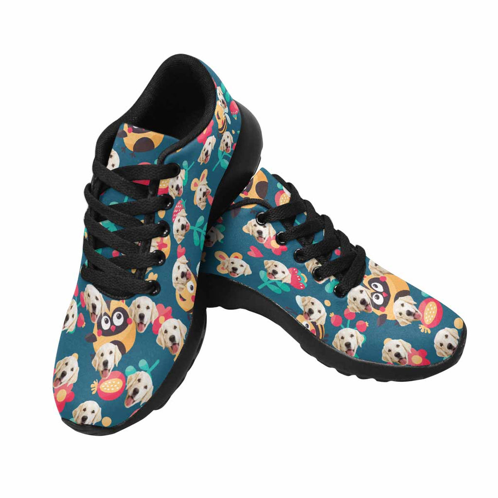 Custom Printed Photo Owls Men's Pup Sneakers Bees and Flowers