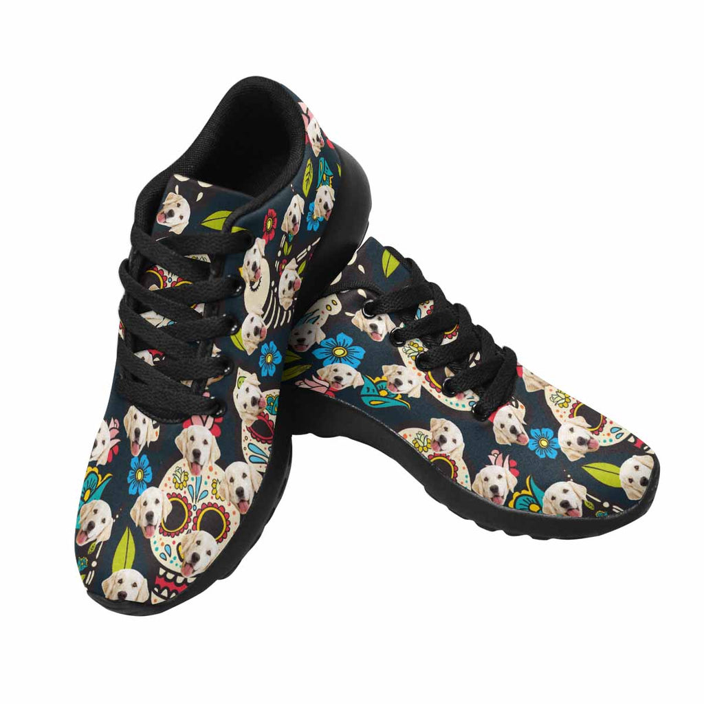 Custom Printed Skull Pup Women's Running Shoes Day of the Dead