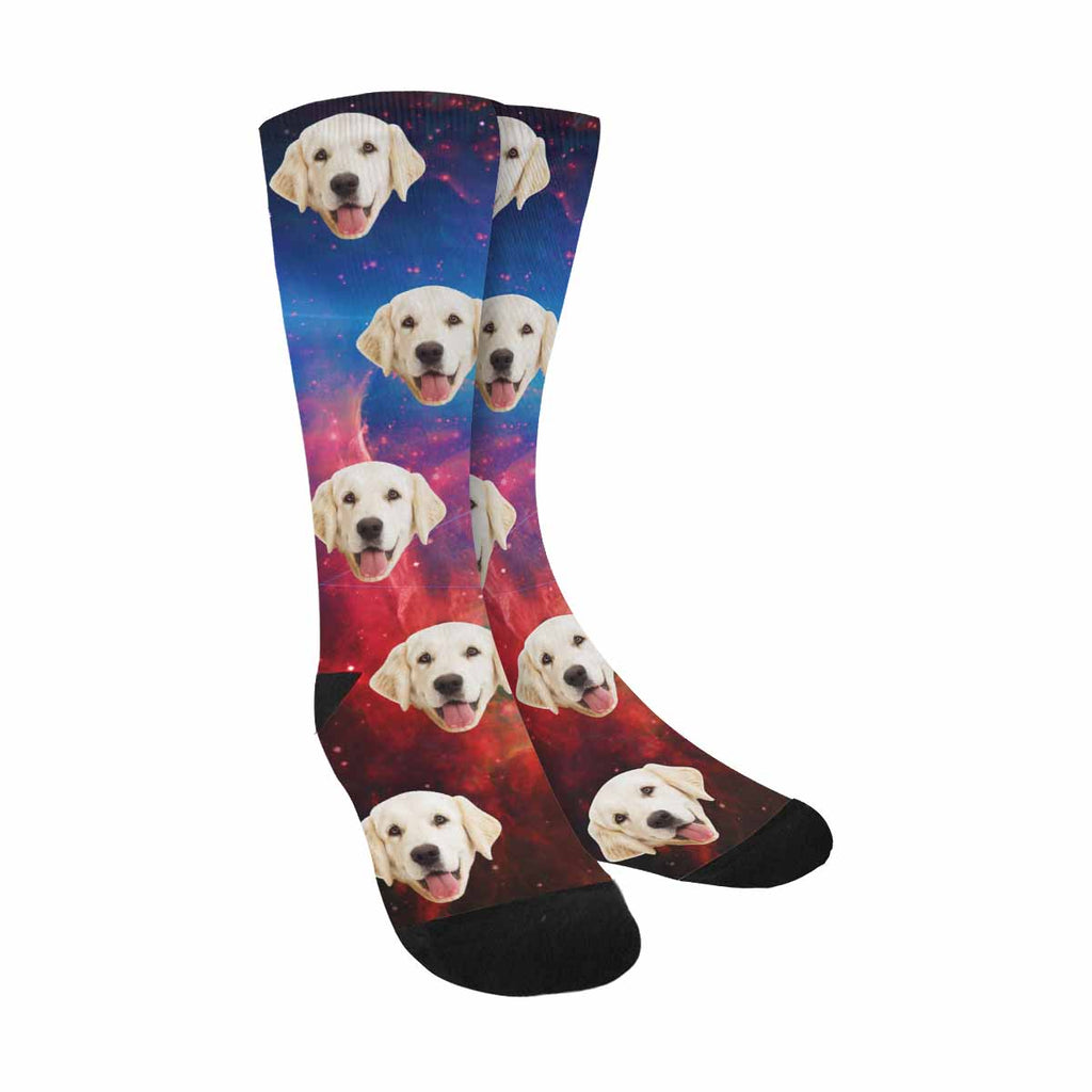 Custom Picture Galactic Space Dog Socks