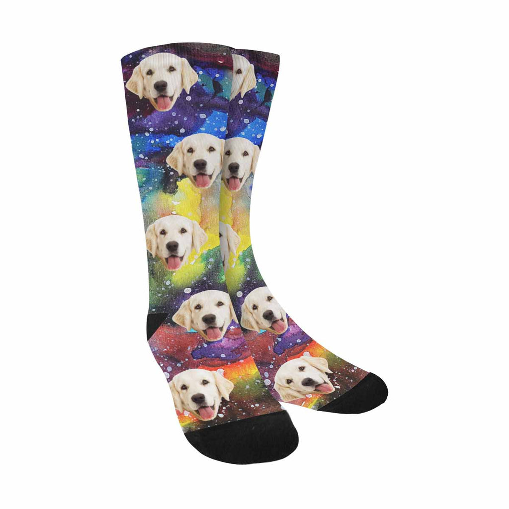 Personalized Picture Watercolor Galaxy Dog Socks