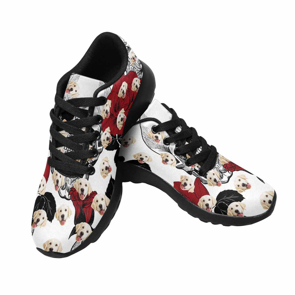 Custom Printed Picture White Skull and Red Roses Pup Women's Running Shoes