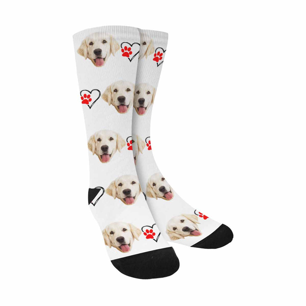 Custom Printed Red Paw Photo Pup Socks, Heart