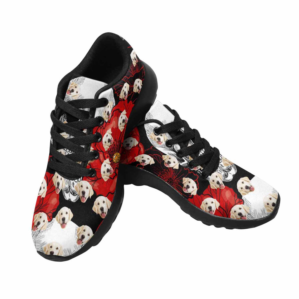 Custom Printed Skull and Red Poppies Women's Pup Sneakers