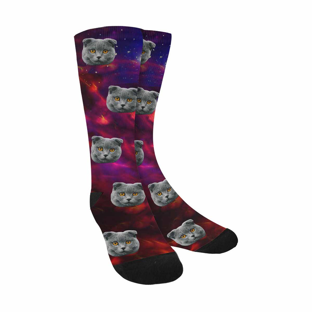 Custom Printed Photo Galaxy Dragon Cat Socks