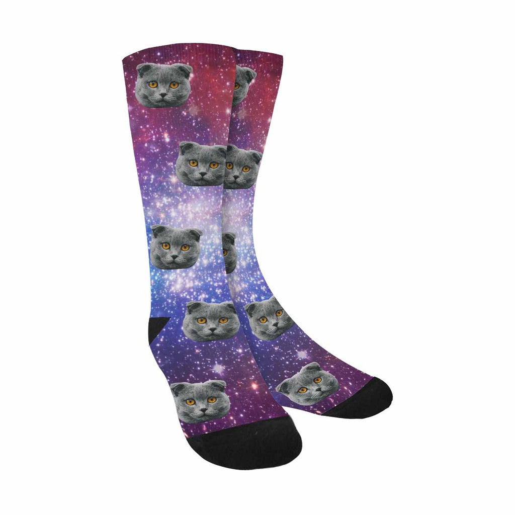 Custom Printed Stars Pet Socks Planet and galaxy