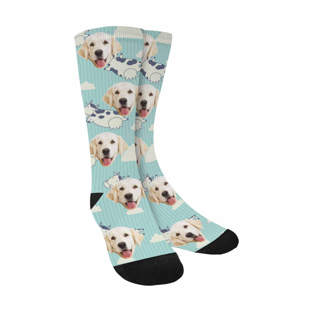 Personalized Picture Cow Skin Pup Socks