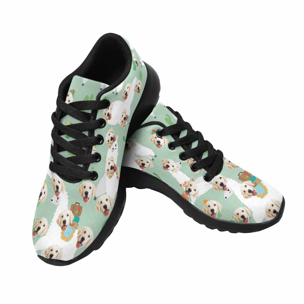 Personalized Picture Llama Dog Men's Running Shoes Cactus