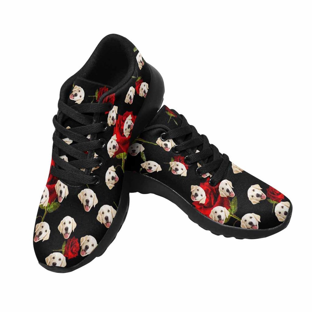 Personalized Picture Red Rose Pup Women's Running Shoes Black Background