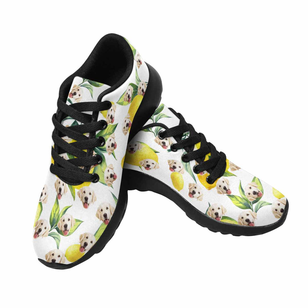 Personalized Printed Lemon Dog Women's Running Shoes White Background