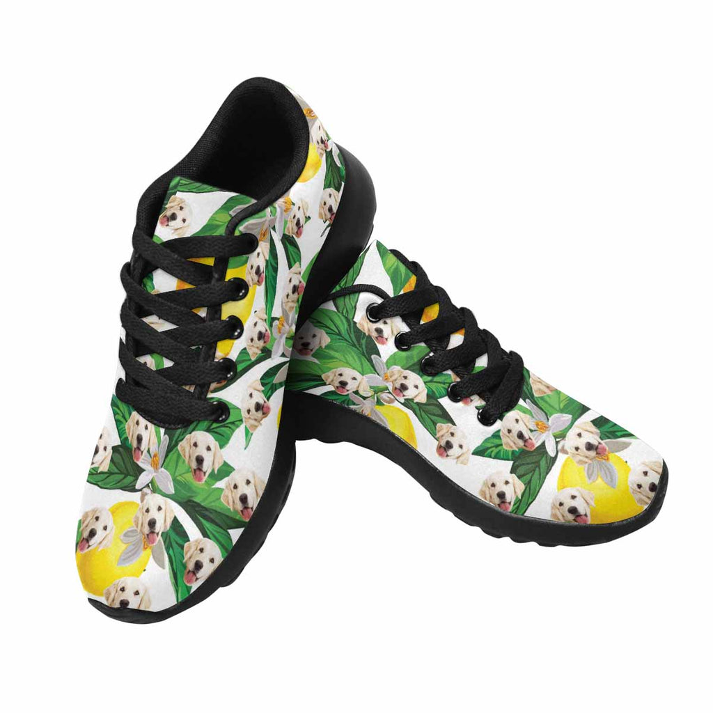 Custom Printed Lemon Women's Pup Sneakers Flower and Leave
