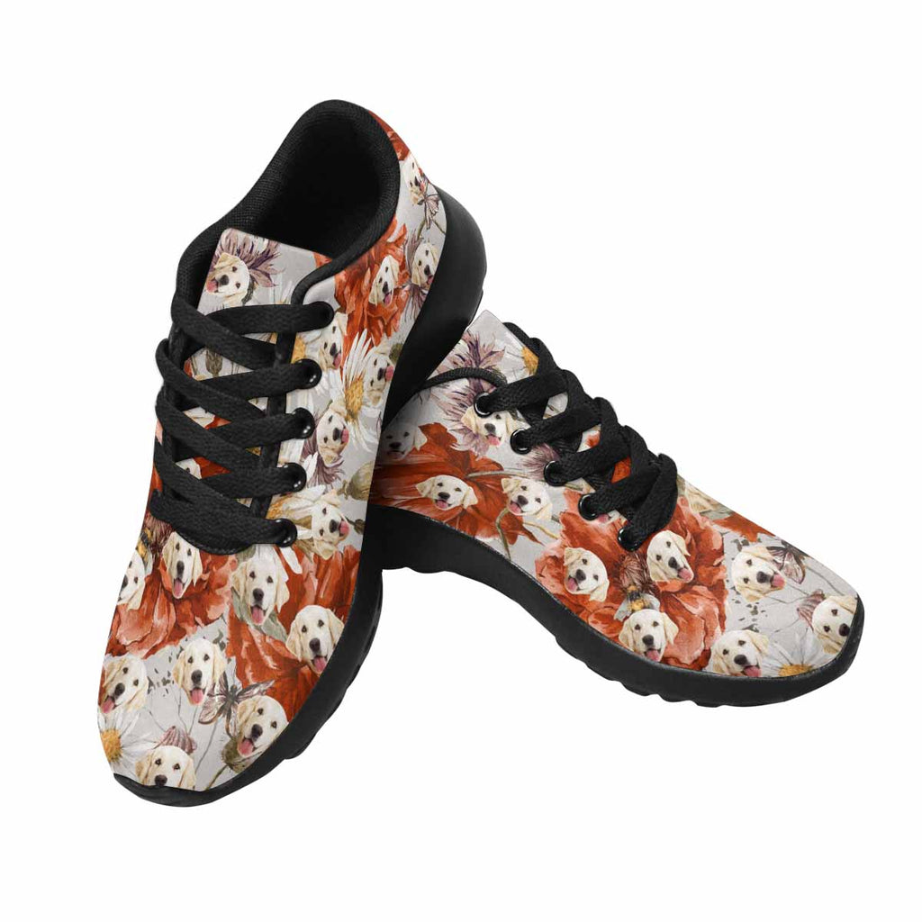 Personalized Picture Poppy Pup Women's Running Shoes Vintage Floral