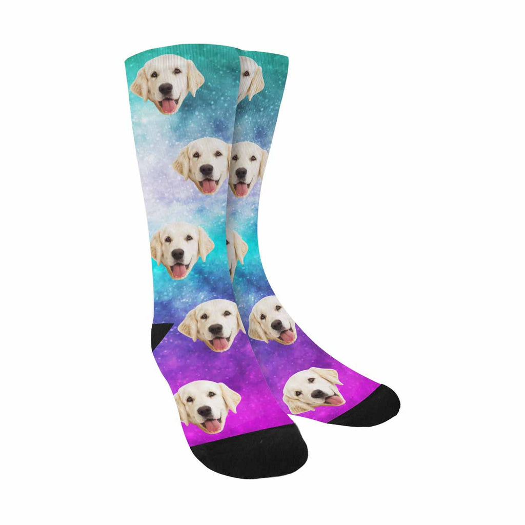 Personalized Photo Cosmic Galaxy Pet Socks