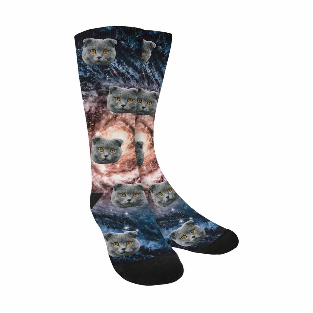 Personalized Photo Spiral Galaxy Cat Socks