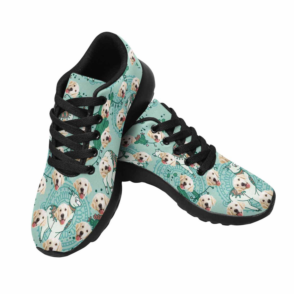 Custom Printed Photo Cute Alpaca Women's Pup Sneakers Cactus