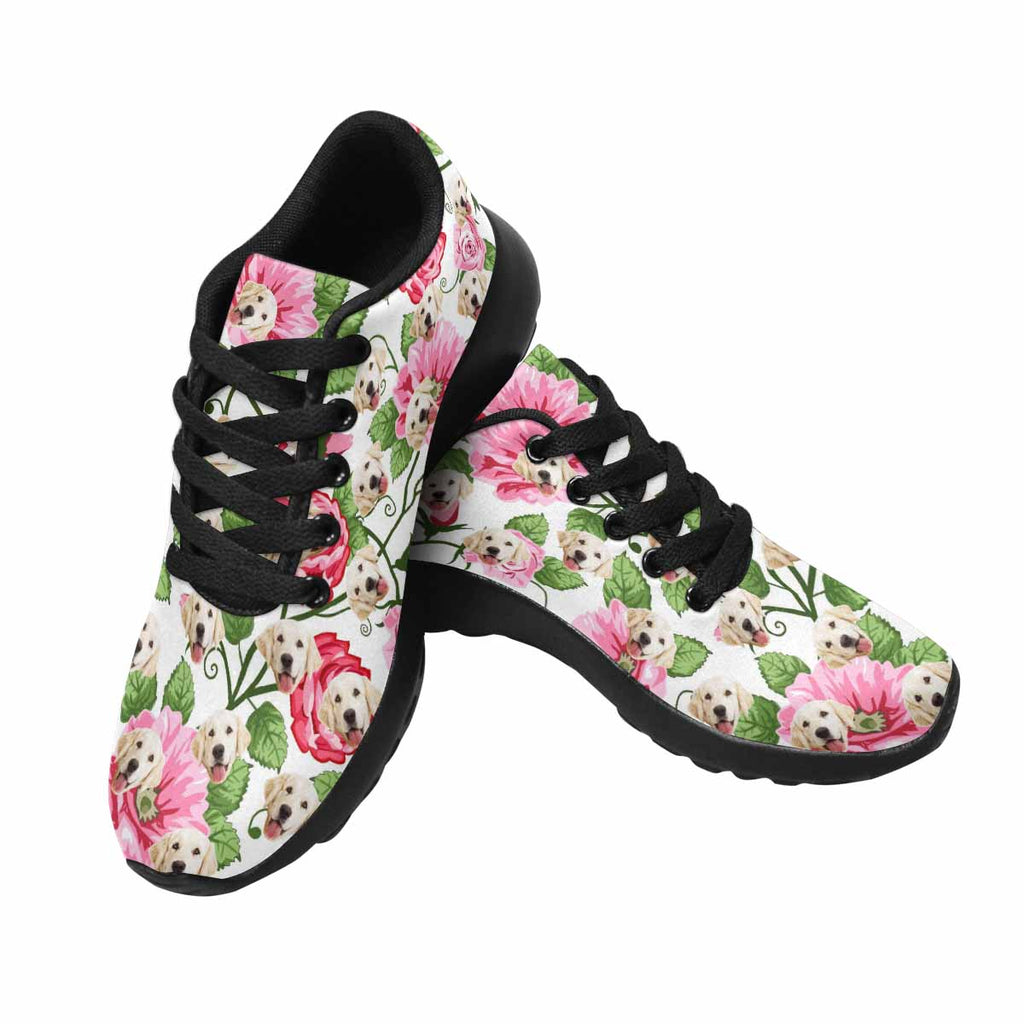 Custom Printed Poppy and Rose Dog Women's Running Shoes