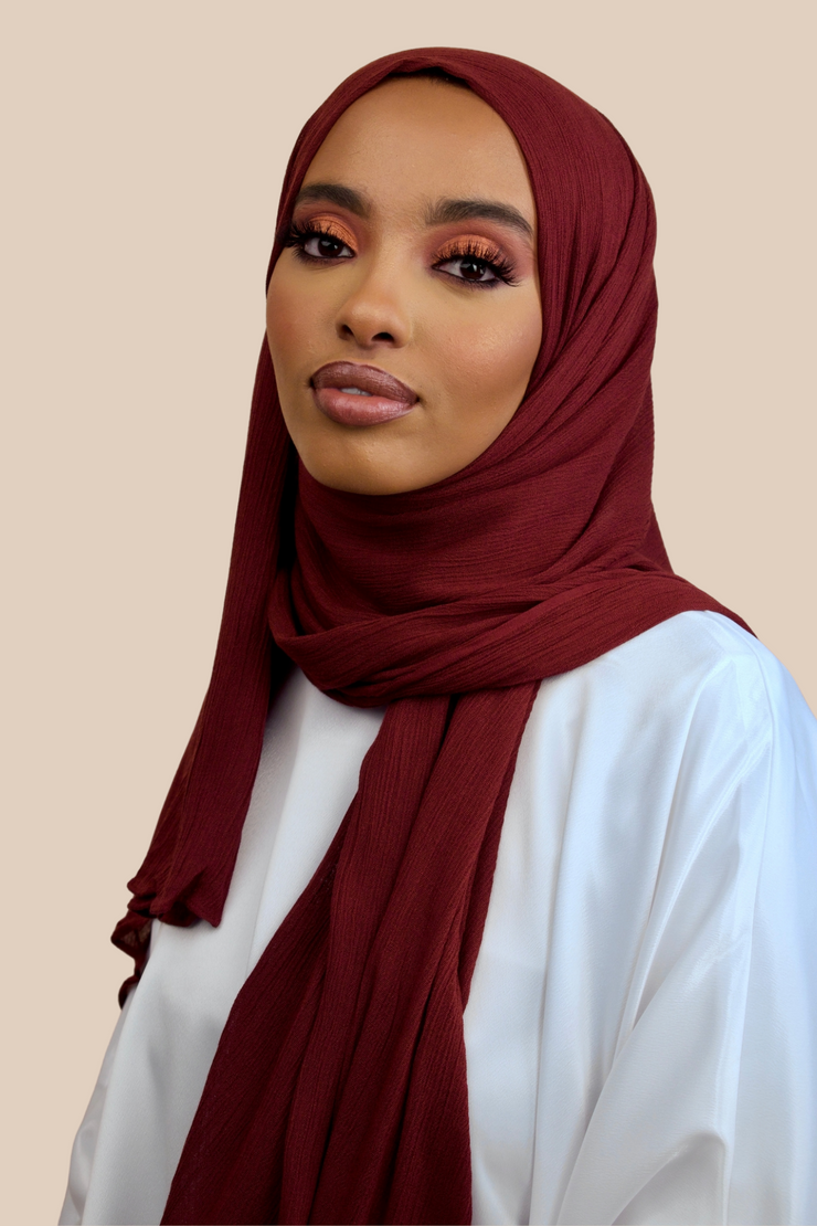 Crinkled Rayon | Maroon - Sabaah's Boutique