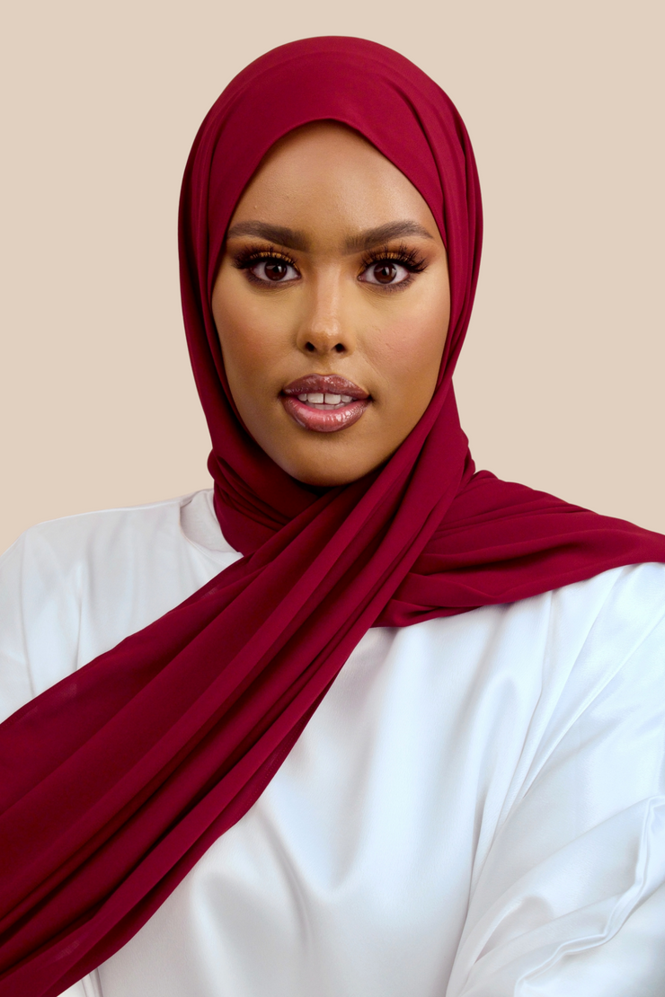 Deluxe Chiffon | Maroon - Sabaah's Boutique