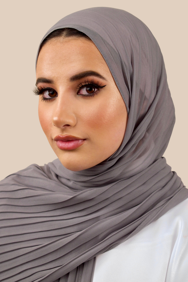 Pleated Chiffon Hijab | Grey - Sabaah's Boutique