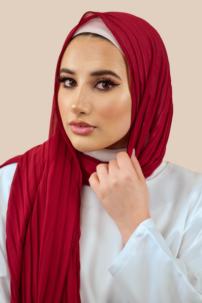 Pleated Chiffon Hijab | Maroon - Sabaah's Boutique