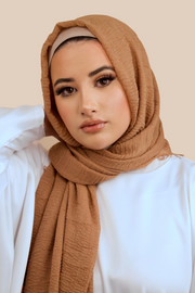 Premium Crimped Cotton Hijab | Chocolate - Sabaah's Boutique