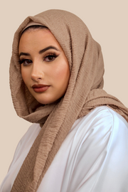 Premium Crimped Cotton Hijab | Mocha - Sabaah's Boutique