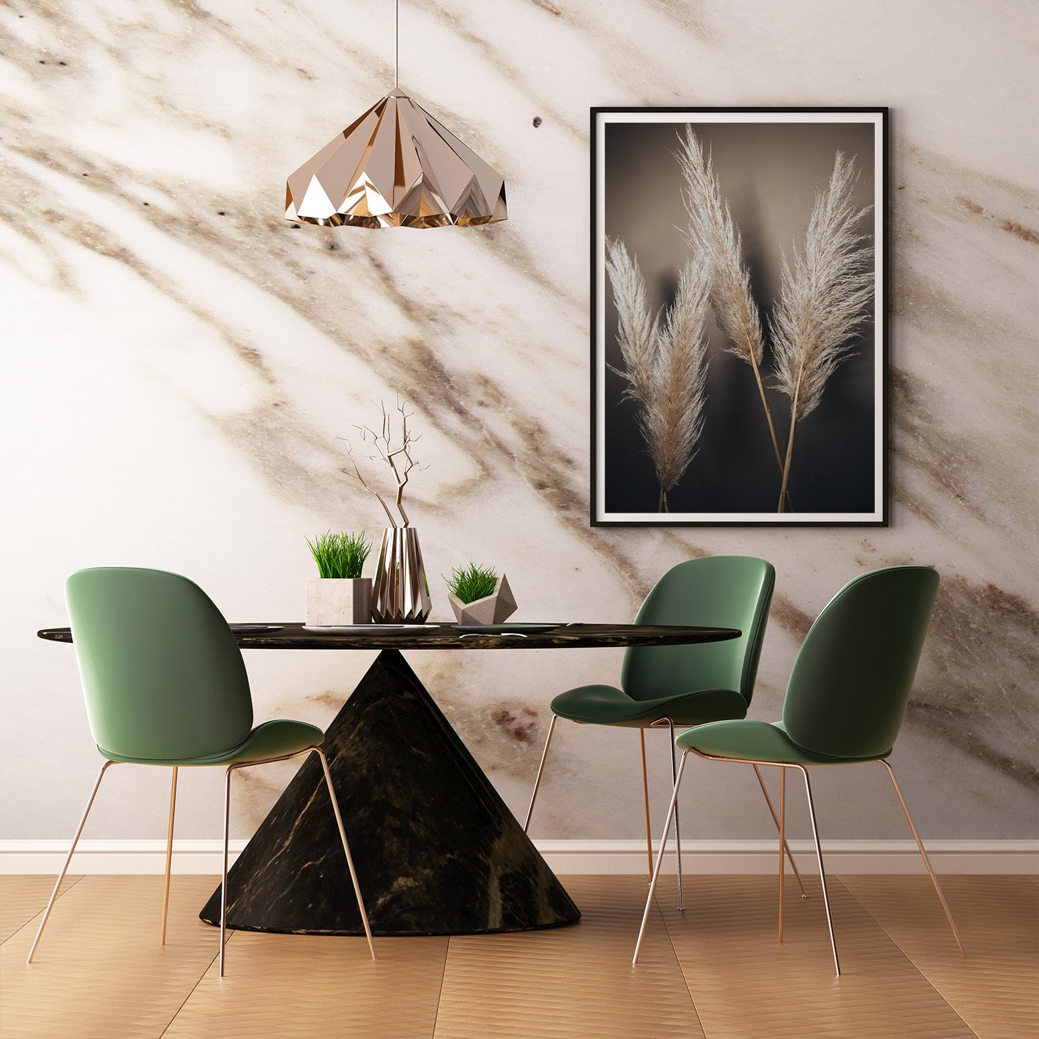 Criss Cross Pampas Grass Print