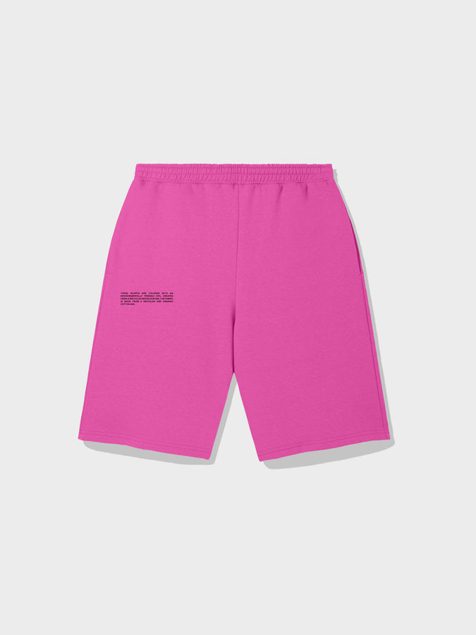 Recycled cotton long shorts—flamingo pink