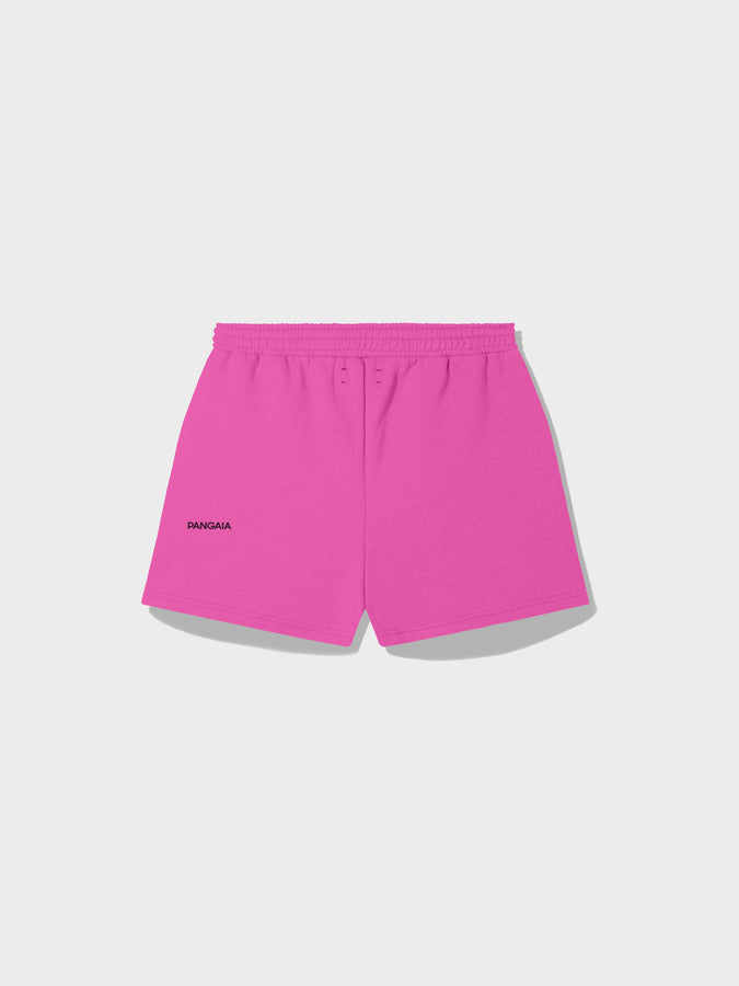 Recycled cotton shorts—flamingo pink