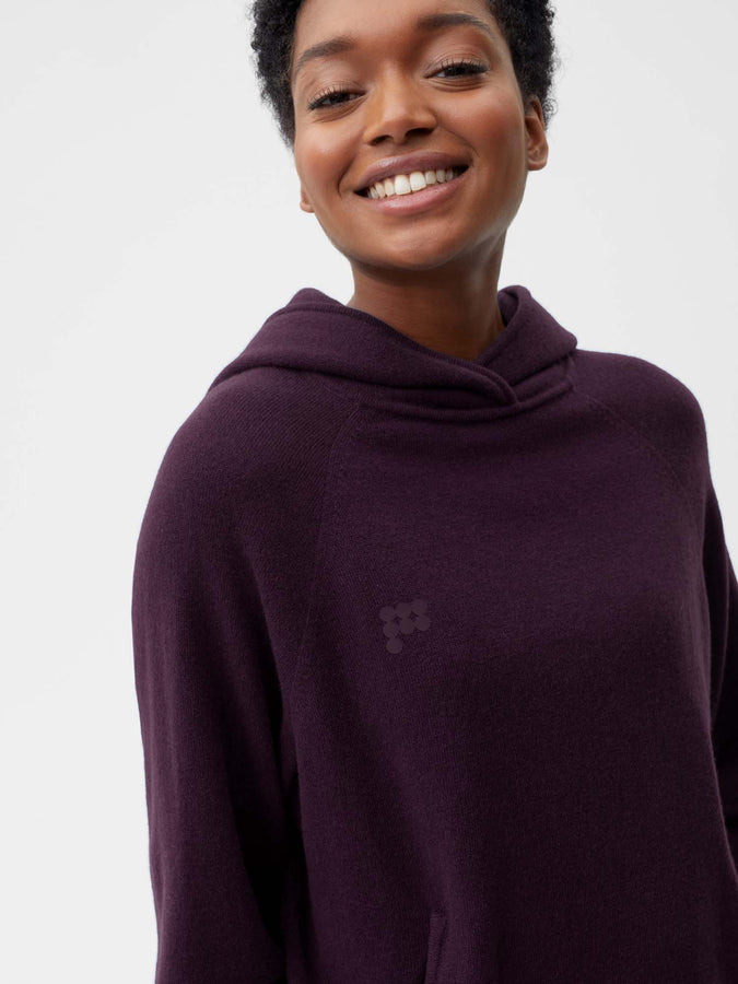 Women's recycled cashmere hoodie—aubergine purple