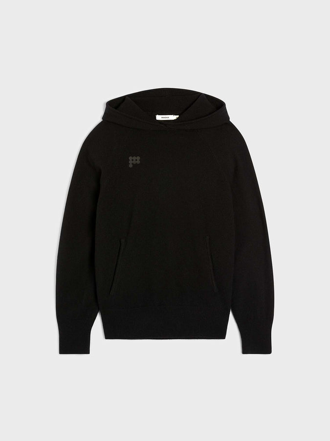 Women's recycled cashmere hoodie—black