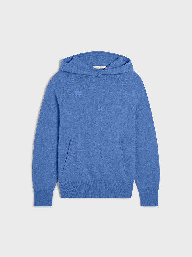 Women's recycled cashmere hoodie—cornflower blue