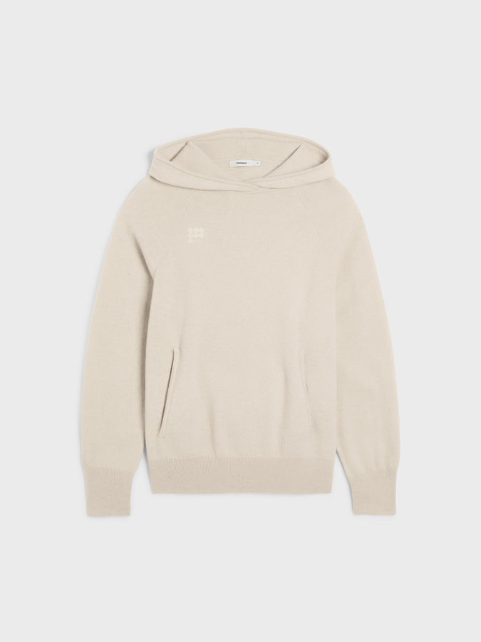 Women's recycled cashmere hoodie—cream