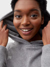 Women's recycled cashmere hoodie—pale grey melange