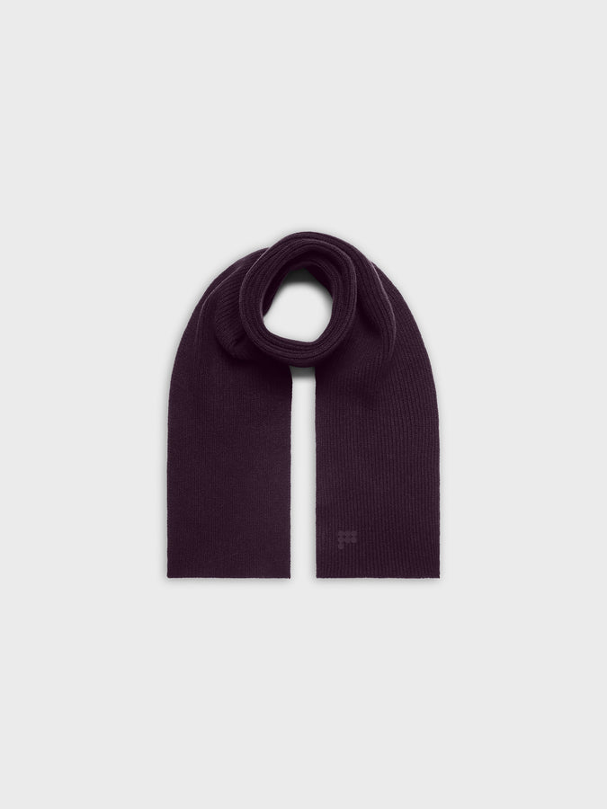 Recycled cashmere scarf—aubergine purple