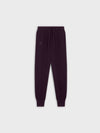 Women's recycled cashmere track pants—aubergine purple