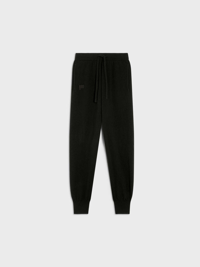 Women's recycled cashmere track pants—black