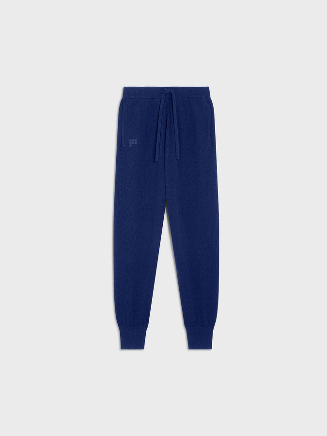 Women's recycled cashmere track pants—cobalt blue
