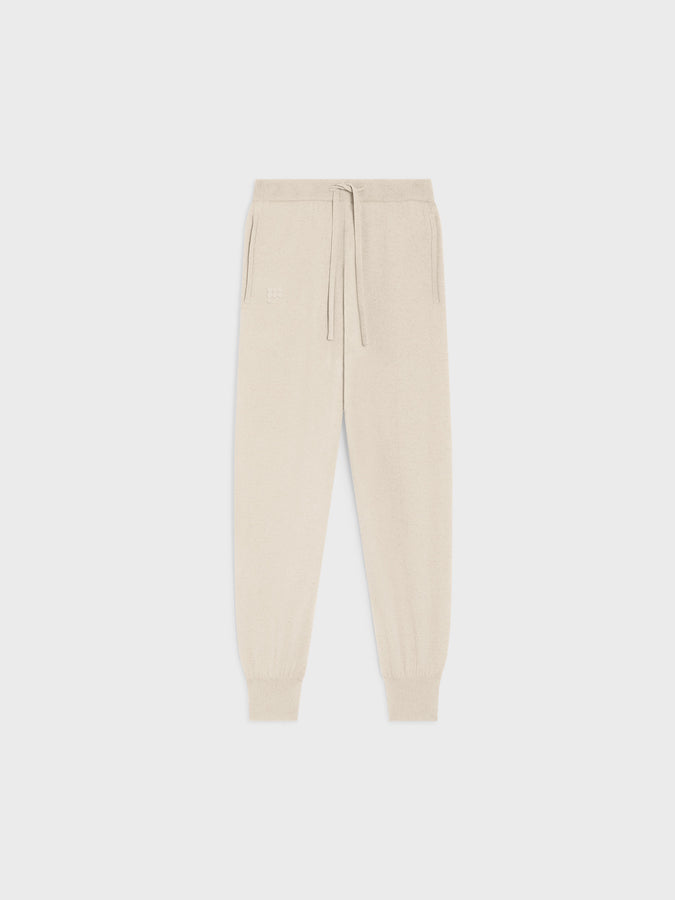 Women's recycled cashmere track pants—cream