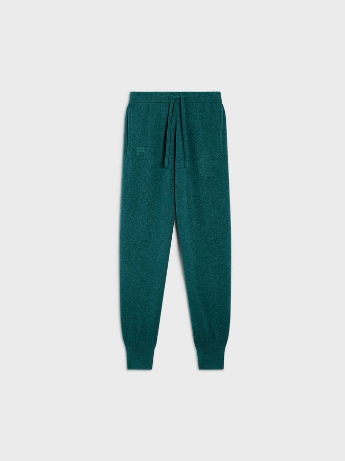 Women's recycled cashmere track pants—marble green