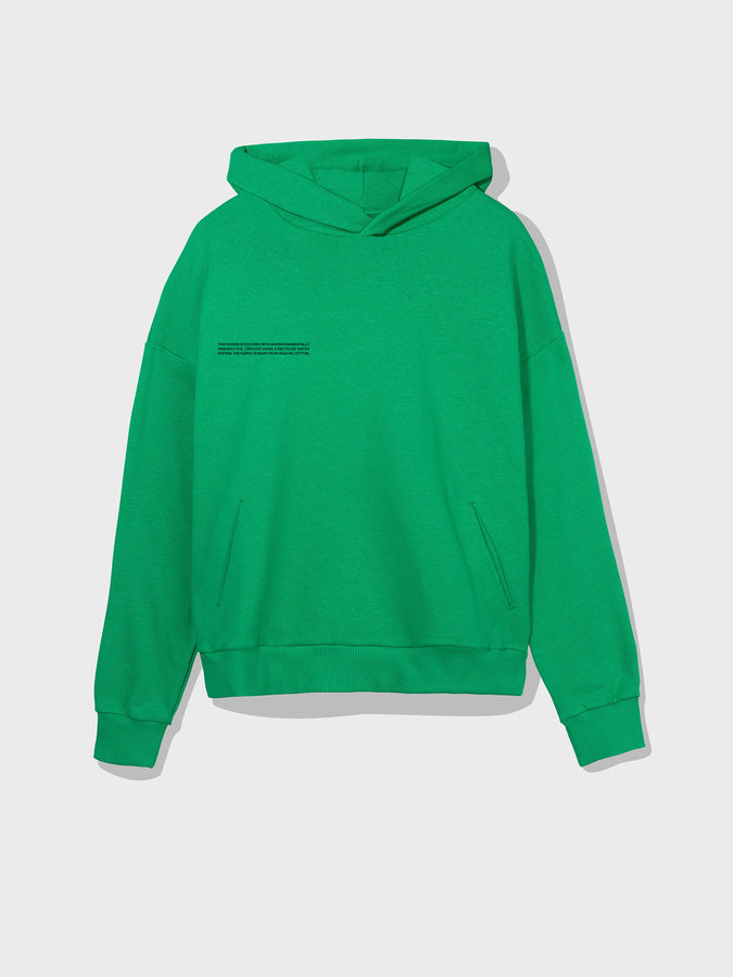 Lightweight recycled cotton hoodie—marine green