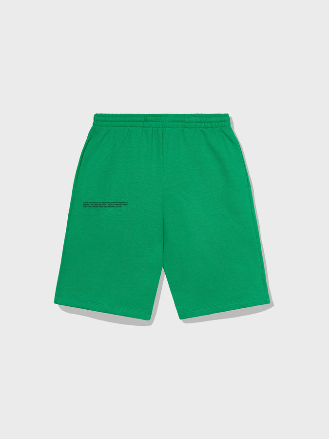 Lightweight recycled cotton long shorts—marine green