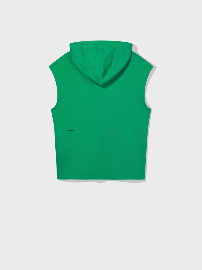Lightweight recycled cotton sleeveless hoodie—marine green