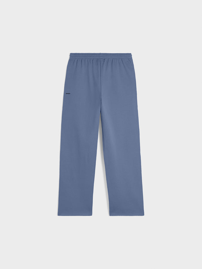 Heavyweight recycled cotton loose track pants—arctic blue