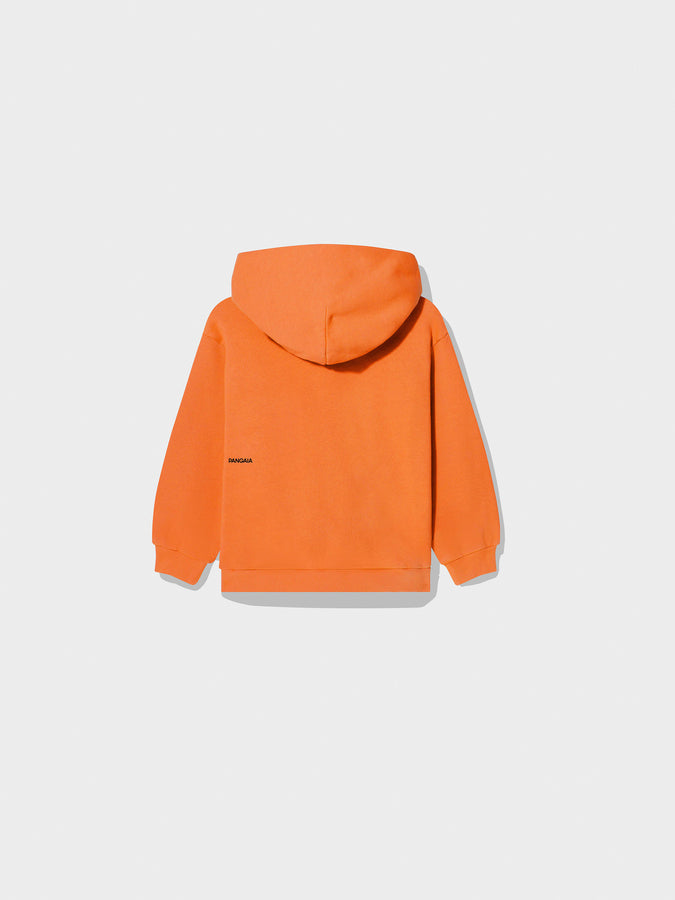 Kids recycled cotton hoodie—Persimmon Orange